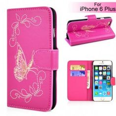 Butterfly Pattern Magnetic Leather Flip Stand Case with Card Slot for iPhone 6 Plus - Magenta