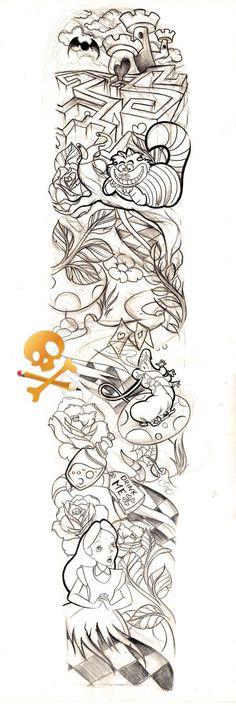 Trendy tattoo sleeve designs sketches alice in wonderland Trendy Tattoos, Black Tattoos, Tattoos For Guys, Tattoos For Women, Tattoos Pics, Tattoo Girls, Small Tattoos, Tatto Skull, Tatoo Art