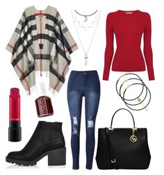 """autumn"" by unicornsally ❤ liked on Polyvore featuring Burberry, Oasis, River Island, MAC Cosmetics, MICHAEL Michael Kors and Essie"
