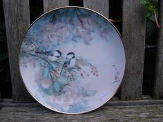 FRANKLIN MINT SONG BIRD CHERRY BLOSSOM FLOWER PLATE