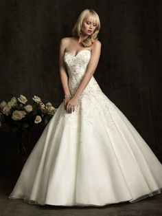 Ball Gown Sweetheart Organza Satin Chapel Train Appliques Wedding Dresses Shop uk