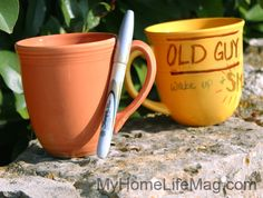 Decorate a coffee cup using a Sharpie then bake to preserve and make it dishwasher safe. Great gift! - MyHomeLifeMag.com