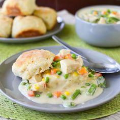 Creamy Garlic Chicken and Buttermilk Biscuits