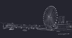 dibujo del támesis y la noria London Eye London Eye, My Drawings, About Me Blog, Random, Inspiration, Ferris Wheel, London, Invitations, Drawings