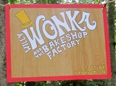 The welcome board for the 2014 Week 2 Saturday Night Show (Willy Wonka and the Bakeshop Factory) at the J. Harold Williams Amphitheatre on the Orange Trail at Camp #Yawgoog.  Image by David R. Brierley.
