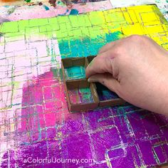 Homemade pattern making tool with cardboard for gel printing video by Carolyn Dube #gelprint #gelplate