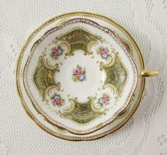 Paragon Green Tea Cup and Saucer with Small Roses, Vintage Tea Cup, Bone China, Teacup and Saucer