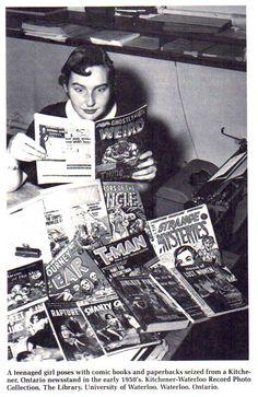 The moral panic over horror comics Vintage Comic Books, Vintage Comics, Moral Panic, Comic Book Storage, People Reading, Ontario, Read Comics, Horror Comics, Family Album