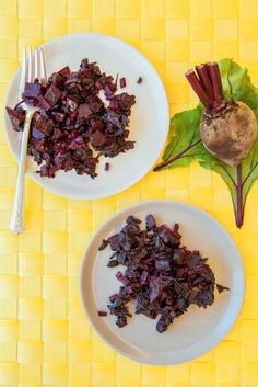 Roasted Beets With Sauteed Beet Greens.
