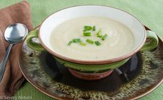 The cream of cauliflower soup is rich and flavorful with few ingredients and dairy free, but you could easily substitute milk or half and half if preferred.