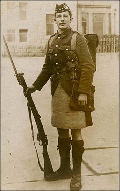 WWI Scottish soldier – they wore kilts in battle