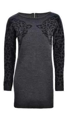 We LOVE this #Dynamite Cheetah Sweater Dress! Looks comfy and warm. Would you wear heels or tall boots? #sweaterdress