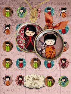 KOKESHI - Collage Digital, Images digitales cabochons , images digitales Imprimables - puppets japonaises KOKESHI + GRATUIT Étiquettes & porteurs : Accessoires pour bijoux par shabbyfee