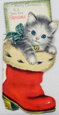 #1296 60s Unused Gibson Glittered Cat in Boot-Vtg Diecut Christmas Greeting Card