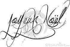 Joyeux Noel sign French words for happy Christmas, Joyeux Noel in decorative handwriting on a white background.