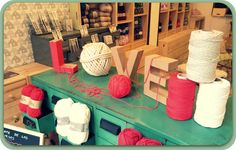 New Store: Les Jardins De Juliette, Barcelona, Spain Vintage Industrial Furniture, Reclaimed Furniture, Pipe Furniture, Industrial Style, Furniture Design, Yarn Display, Brick Store, Wool Shop, Woman Cave