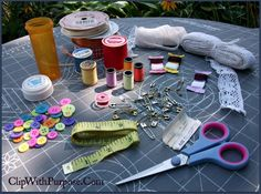 age 10-14 sewing kit ,thread,buttons,safety pins,measuring tape,scissors, needles in felt case,ribbons,lace , trims of all kinds, 1/2 yd fabric or fat qtrs.