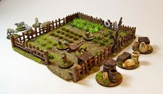 Hi Guys, here is my little new work. A vegetable garden, some farm animals and furnitures Enjoy :-) Wargaming Table, Wargaming Terrain, Tabletop Rpg, Tabletop Games, Fantasy Miniatures, Dollhouse Miniatures, Dnd Mini, Fallout 4 Settlement Ideas, Warhammer Terrain