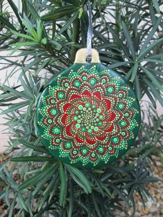 Hand Painted Snowflake Ornament Green Gold & Red Spiral Dot