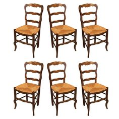 Set of 6 French Country Chairs  France  1900