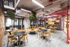 The Brain Embassy: An Inspiring Co-Working Space in Warsaw - Design Milk Office Interior Design, Office Interiors, Vinyl Window Trim, Restaurants, Lunch Room, Workplace Design, Co Working, Interior Paint Colors, Coworking Space