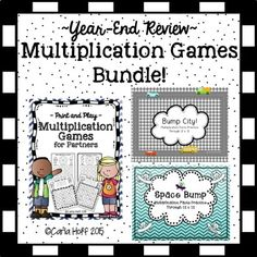 Multiplication games - perfect for year-end review!  Not more instruction, not more drill--just super fun practice with these print and play games.  Money-saving bundle.   (Great for practice through the year as well!)