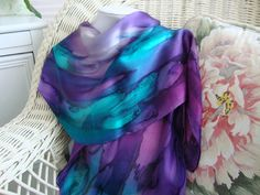 Hand Dyed Northern Lights Hand Dyed Silk Scarf by MommaGoddess
