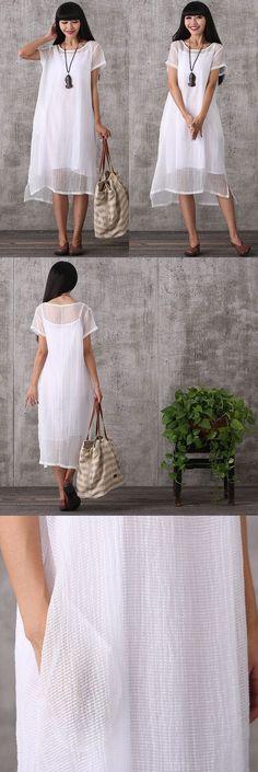 Women summer short sleeve irregular cotton linen dress &sling dress