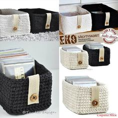 crochet baskets - no pattern Crochet Storage, Crochet Box, Love Crochet, Crochet Yarn, Crochet Baskets, Crochet Home Decor, Crochet Crafts, Yarn Projects, Crochet Projects