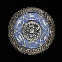 1780s-1800s Cut steel button set with a jasperware plaque & zodiac design, by Josiah Wedgewood & Sons.