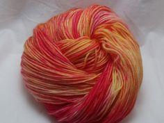 Handdyed Sock Yarn in Sunrise Sunset by dragonflydyeworks on Etsy.