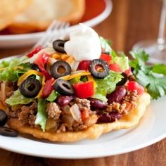"""These tacos are made using the Navajo Fry Bread as the """"tortilla""""."""