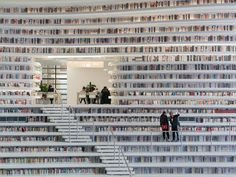 """The Tianjin Binhai Library interior is almost cave-like, a continuous bookshelf,"" explains Winy Maas, co-founder of MVRDV."