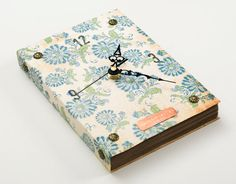 Book Wall Clock Blue Flowers by RoosterJam on Etsy, $36.00