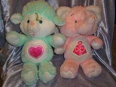 Vintage 1984 Care Bears Cousins Gentle Heart Lamb Lotsa Heart Elephant Plush Lot