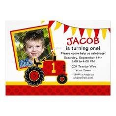 Red Tractor 1st Birthday Photo Invitation