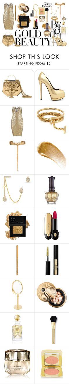 """""""Sparkle in Gold"""" by stonesherry ❤ liked on Polyvore featuring Okhtein, Giuseppe Zanotti, Hervé Léger, Eddie Borgo, BBrowBar, Anne Sisteron, Anna Sui, Forever 21, Guerlain and NYX"""