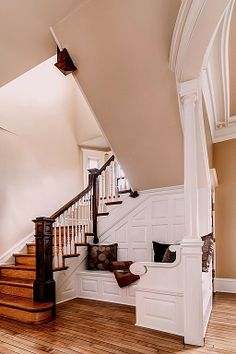"""""""View this Great Traditional Staircase with Custom built-in bench seating & Interior white columns by Elise Moore. Discover & browse thousands of other home design ideas on Zillow Digs. Under Stairs Nook, Traditional Staircase, Ideas Hogar, Built In Bench, Staircase Design, Staircase Ideas, My Dream Home, Home Improvement, Sweet Home"""