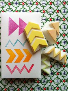 hand carved rubber stamps by talktothesun. watermelon rubber stamp is made of 2 parts. tropical fruit stamp series for your summer holiday theme diy crafts + bullet journals. Homemade Stamps, Eraser Stamp, Diy Cadeau, Stamp Carving, Art Diy, Fabric Stamping, Form Design, Stencils, Printing On Fabric