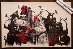 Raising some hell for @heroesonline upcoming #heroescon 2015 art auction. #hellboy #yaymonsters