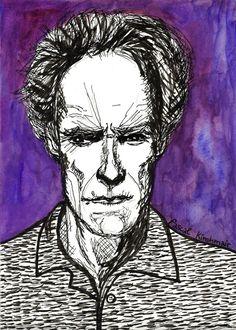 """Clint Eastwood"", Noodler´s Ink & Watercolour, 21 x 29,7 cm  クリント・イーストウッド"