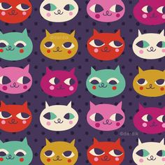 Here are a few patterns and an illustration that I& dipped in eggplant. Now they are rich in colour and good for you:). Magazine Illustration, Pattern Illustration, Children's Book Illustration, Cat Pattern, Pattern Art, Pattern Design, Gatos Cats, Unique Toys, Pretty Patterns