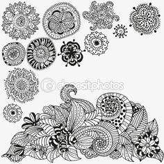 Doodle floral. Patrón blanco y negro — Vector de stock