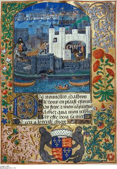 Tower of London and shipping, with Charles, Duke of Orleans seated in the Tower writing, from Poems of Charles Duke of Orleans, c.1500 (vellum) ...  Image ID: BL 3038 ... Royal Ms 16 F II, f.73