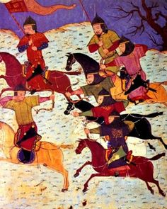 Illustration from a fourteenth century manuscript depicting Mongolian mounted archers.
