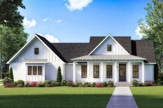Modern Farmhouse Plans, Farmhouse Design, Farmhouse Style, Open Concept Floor Plans, Best House Plans, Southern Style, Outdoor Living, New Homes, How To Plan