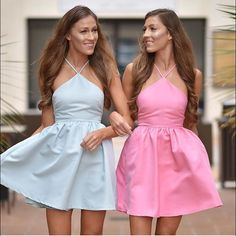 The Zooey High Neck Dress- (Blue And Pink.)