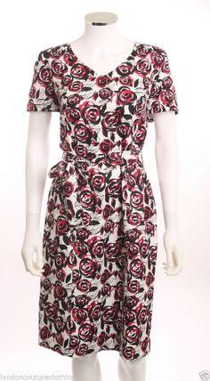 PRESTON & YORK V-NECK SELF BELT  FLORAL WHITE RED & BLACK  POLYESTER DRESS SZ 12