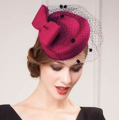Fashion red pillbox hat with veil for women felt fascinator hats widding wear