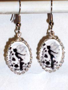 Ohrringe Elfe Fee Fairy Damen Hänger Durchzieher Ohrschmuck Modeschmuck Glas